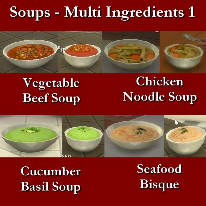 Custom Food Soups Multi Ingredient 1 by Leniad at TSR image 3315 670x670 Sims 4 Updates