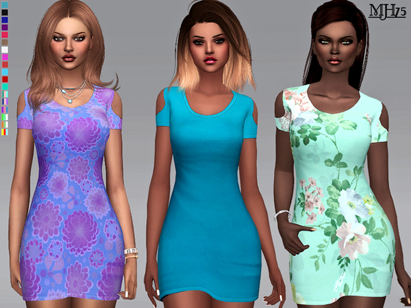 Lumineer dress with cut out short sleeves by Margeh 75 at TSR image 3319 Sims 4 Updates