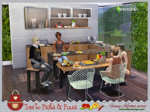 Funny kitchen series Time to Pasta and Pizza by SIMcredible! at TSR image 370 Sims 4 Updates