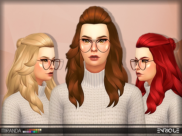 Sims 4 Enriques4 Miranda Hair by Jruvv at TSR