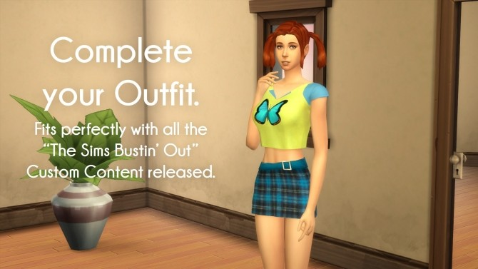 Sims 4 Blue Skirt from The Sims Bustin Out by littledica at Mod The Sims