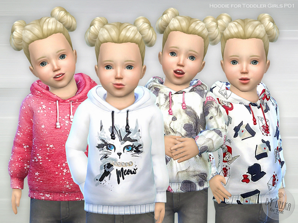 Sims 4 Hoodie for Toddler Girls P01 by lillka at TSR