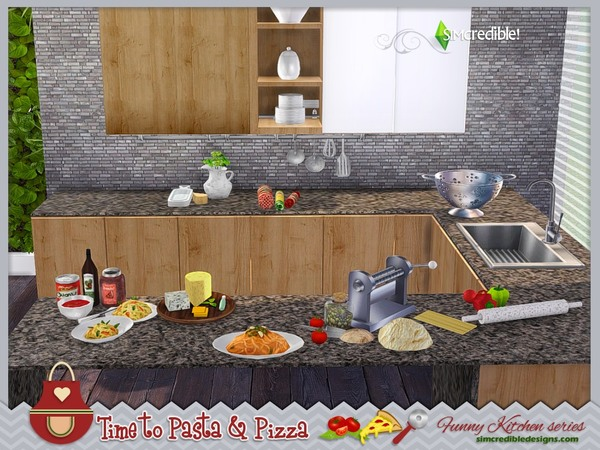 Funny kitchen series Time to Pasta and Pizza by SIMcredible! at TSR image 430 Sims 4 Updates