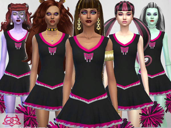 Sims 4 Monster High Cheerleader Shoes, outfit, pom poms by Colores Urbanos at TSR