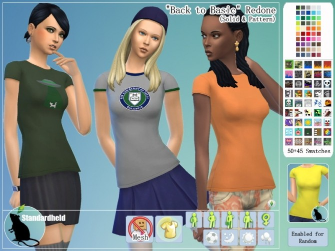 Sims 4 Back to Basic Redone Shirts by Standardheld at SimsWorkshop