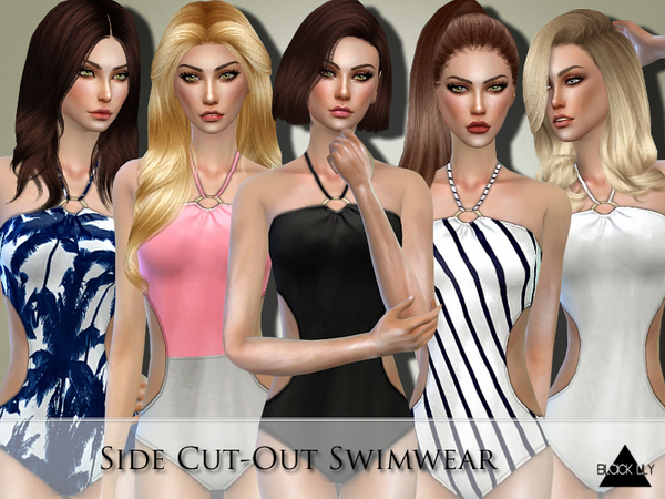 Side Cut Out Swimwear by Black Lily at TSR image 444 Sims 4 Updates