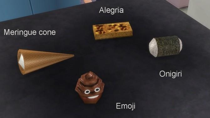 Sims 4 Edible Onigiri, Alegria, Meringue cone and emoji cupcake by necrodog at Mod The Sims