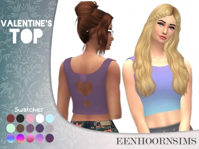 Sims 4 Valentines Crop Top by xEenhoornx at SimsWorkshop