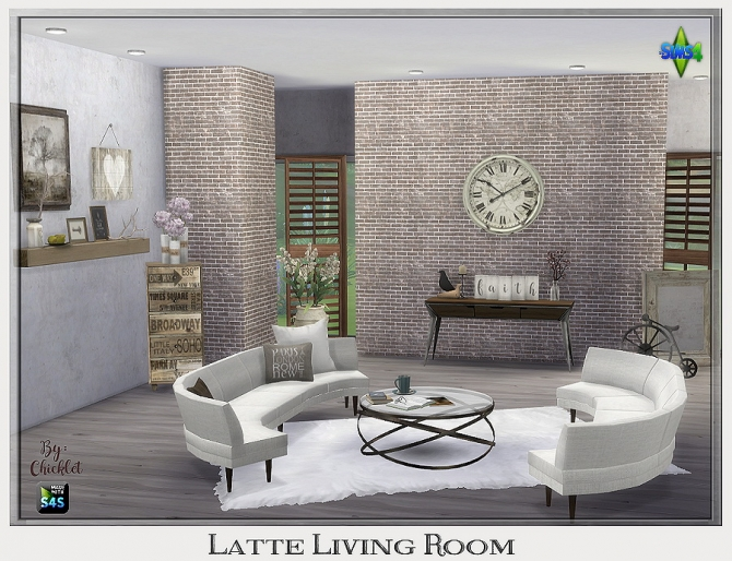 Latte Living Room At Chicklet S Nest 187 Sims 4 Updates