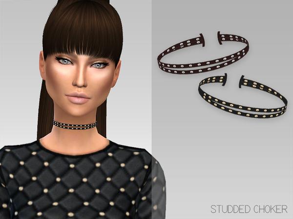 Sims 4 Studded Choker by GrafitySims at TSR