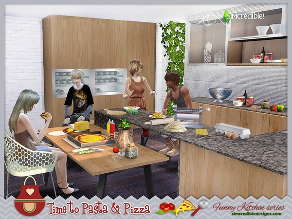 Funny kitchen series Time to Pasta and Pizza by SIMcredible! at TSR image 539 Sims 4 Updates