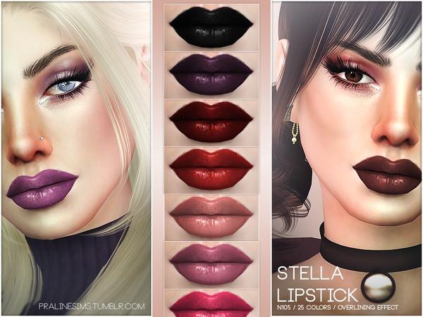 Sims 4 Stella Lipstick N105 by Pralinesims at TSR