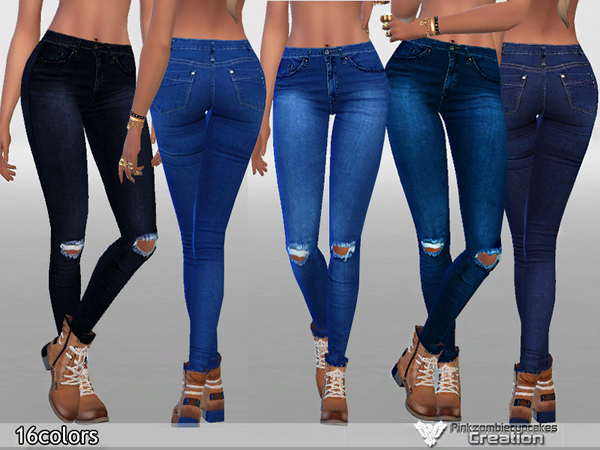 Dark Ripped Denim Jeans by Pinkzombiecupcakes at TSR image 562 Sims 4 Updates
