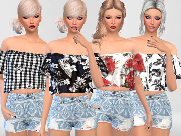 Off the Shoulder Floral Tops Collection by Pinkzombiecupcakes at TSR image 563 Sims 4 Updates