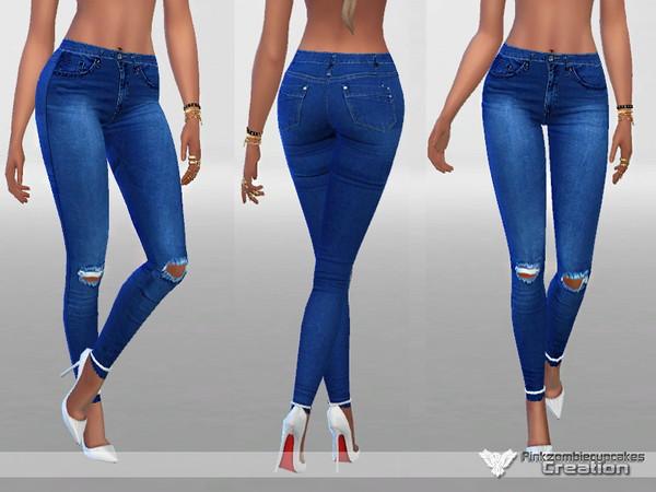 Dark Ripped Denim Jeans by Pinkzombiecupcakes at TSR image 572 Sims 4 Updates