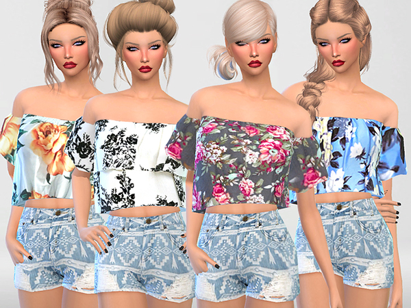 Off the Shoulder Floral Tops Collection by Pinkzombiecupcakes at TSR image 573 Sims 4 Updates