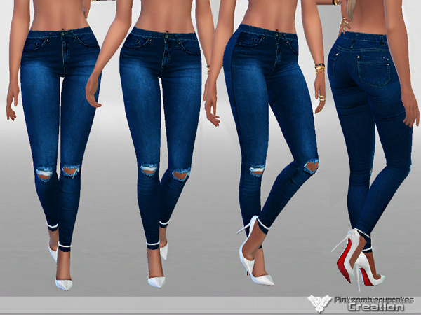 Dark Ripped Denim Jeans by Pinkzombiecupcakes at TSR image 592 Sims 4 Updates