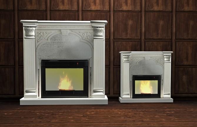 nathan set antique white faux fireplace at daer0n sims 4