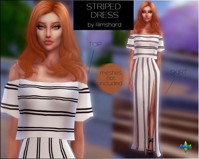 Sims 4 Striped Maxi Dress at Rimshard Shop