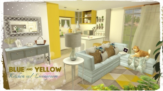 Blue & Yellow Kitchen with Livingroom at Dinha Gamer image 6012 670x377 Sims 4 Updates