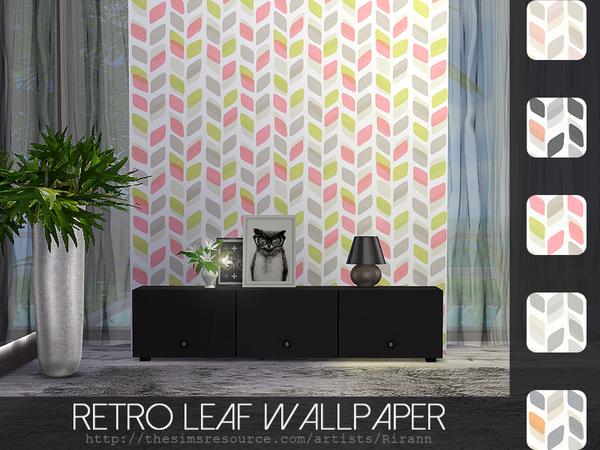 Sims 4 Retro Leaf Wallpaper by Rirann at TSR