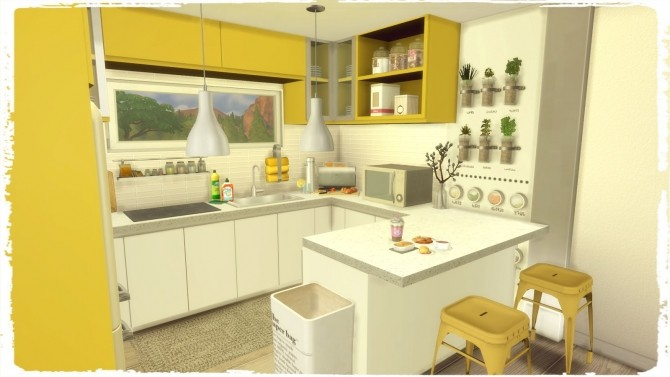 Blue & Yellow Kitchen with Livingroom at Dinha Gamer image 6213 670x377 Sims 4 Updates