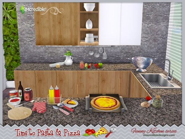 Funny kitchen series Time to Pasta and Pizza by SIMcredible! at TSR image 630 Sims 4 Updates