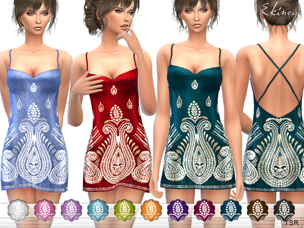 Embroidered Velvet Dress by ekinege at TSR image 637 Sims 4 Updates
