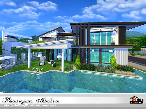 Sims 4 Pimonpan Modern house by autaki at TSR