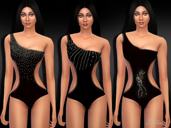 Sims 4 Embellished Monokinies by Saliwa at TSR