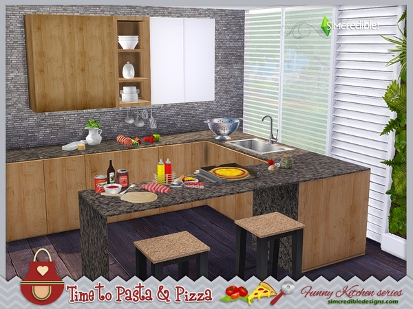 Funny kitchen series Time to Pasta and Pizza by SIMcredible! at TSR image 730 Sims 4 Updates