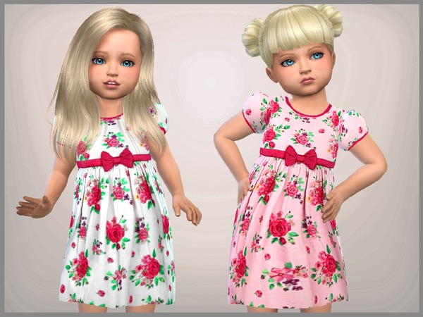 Sims 4 Toddler Floral Dress by SweetDreamsZzzzz at TSR