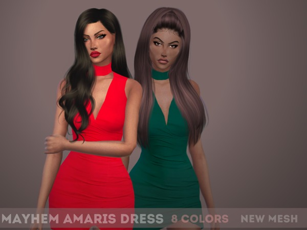 Sims 4 Amaris Dress by mayhem sims at TSR