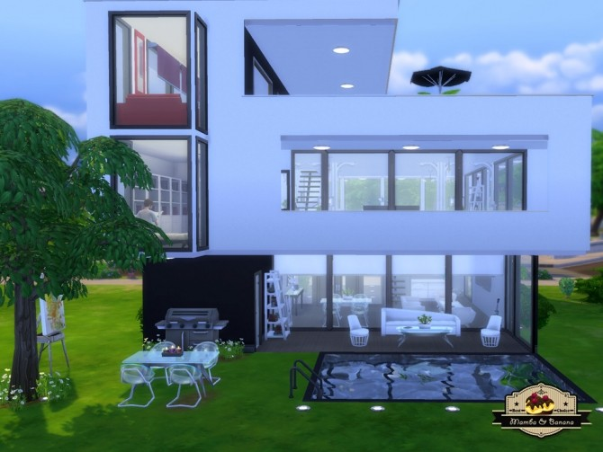 Black white house by mamba black at mod the sims sims 4 for Casas modernas sims 4 paso a paso