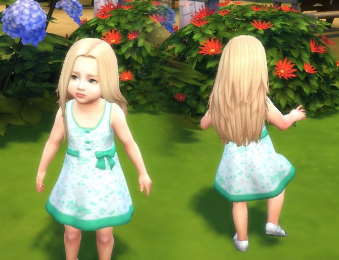 Sims 4 Dress Button Bow for Toddlers at My Stuff