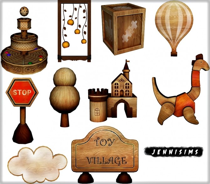Sims 4 Kids Toy Village (10 items +Table Functional) at Jenni Sims