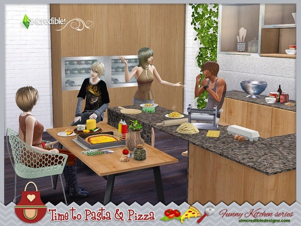 Funny kitchen series Time to Pasta and Pizza by SIMcredible! at TSR image 830 Sims 4 Updates