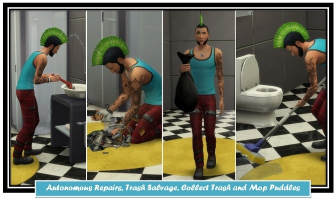 Sims 4 Autonomous Repairs, Trash Salvage, Collect Trash & Mop Puddles by LittleMsSam