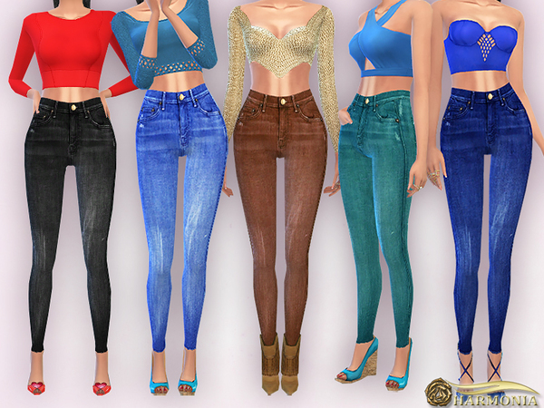Sims 4 High Waisted Skinny Jeans by Harmonia at TSR