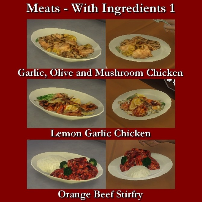 Custom Food Meats with Ingredients 1 by Leniad at Mod The Sims image 9210 670x670 Sims 4 Updates
