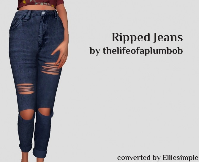 Sims 4 Thelifeofaplumbobs Ripped Jeans converted at Elliesimple