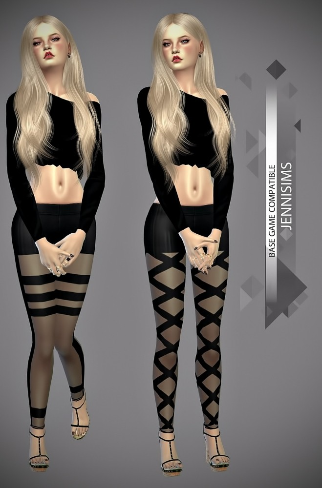 Sims 4 Base Game compatible Leggins (Black and white) at Jenni Sims