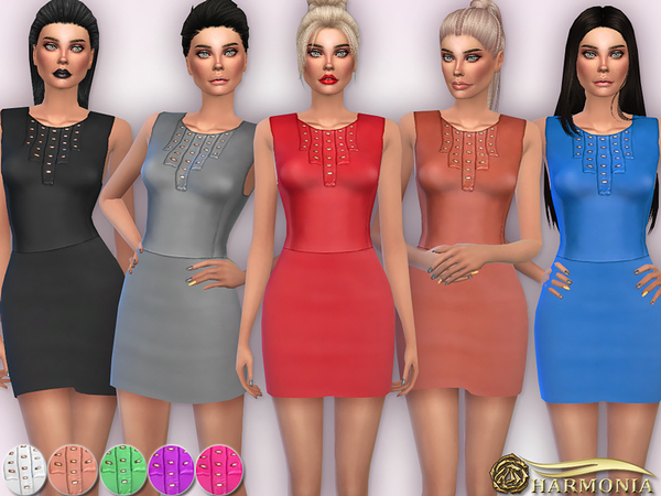 Sims 4 Stretch Leather Body Con Dress by Harmonia at TSR