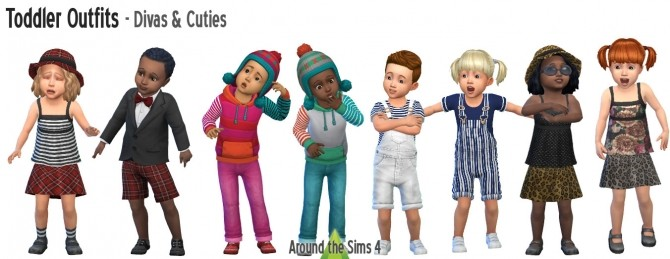 Divas & Cuties Toddler Outfits by Sandy at Around the Sims 4 image 1037 670x259 Sims 4 Updates