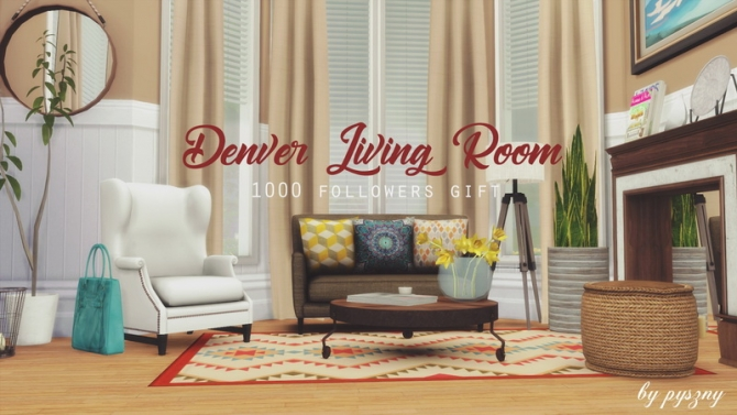 Denver living room at pyszny design sims 4 updates for Living room designs sims 4