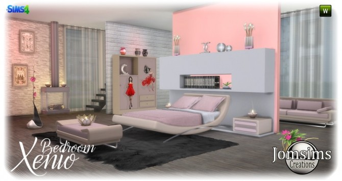 Xenio bedroom at jomsims creations sims 4 updates for Sims 4 meuble a telecharger
