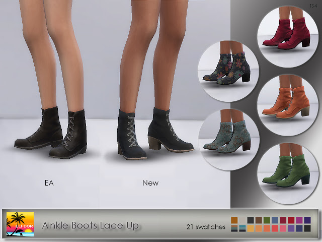 Sims 4 Ankle Boots Lace Up at Elfdor Sims