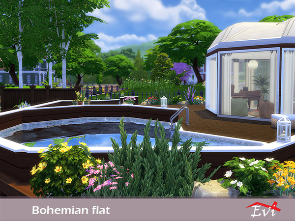Sims 4 Bohemian Flat by Evi at TSR