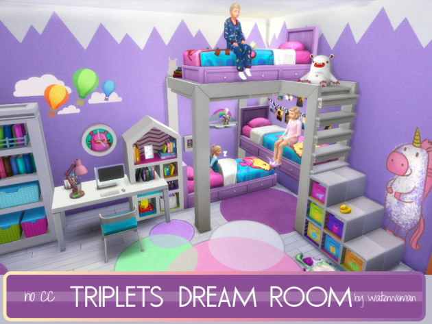 Triplets dream room by waterwoman at akisima sims 4 updates for Sims 3 chambre bebe