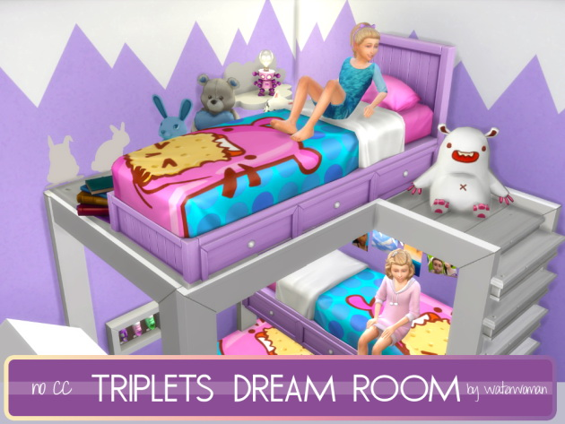 Sims 4 Triplets Dream Room by Waterwoman at Akisima